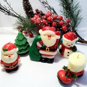 Vintage 50s Christmas Figurine Wax Candles FIVE